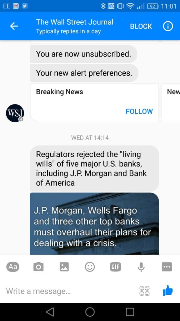 Wall Street Journal bot does not process the unsubscribe command