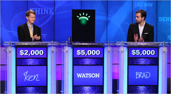 "Two ""Jeopardy!"" champions, Ken Jennings, left, and Brad Rutter, competed against IBM Watson and lost"