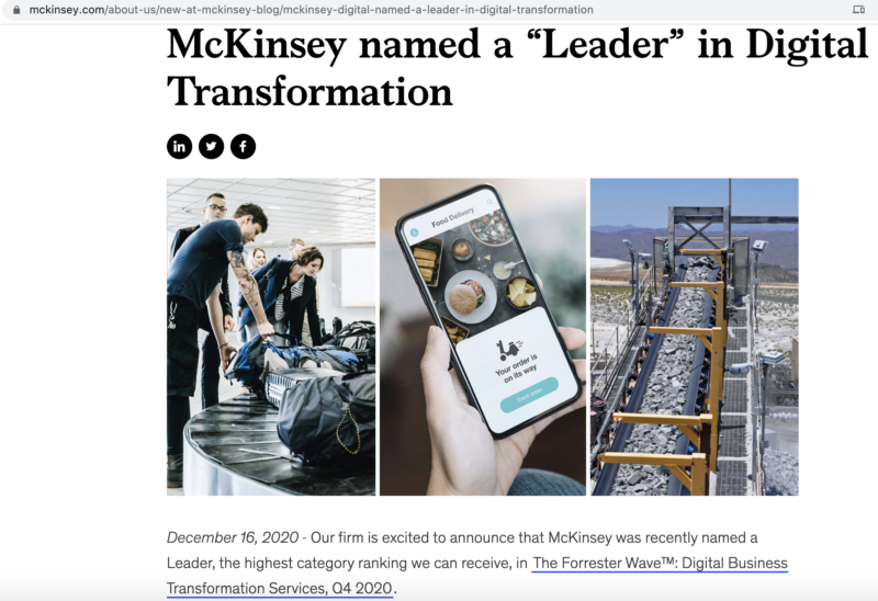 McKinsey article pointing to Forrester report on digital transformation