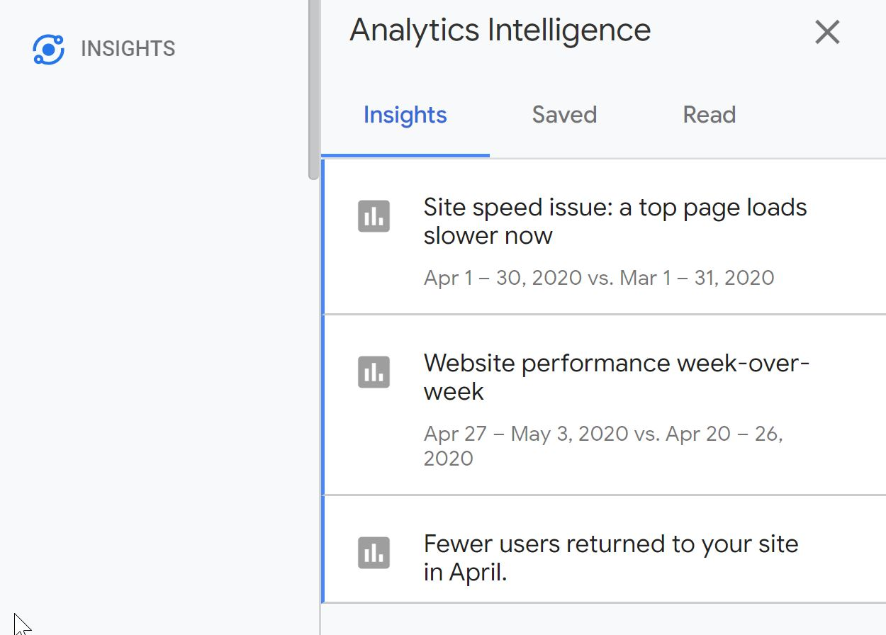 google analytics showing auto-generated insights